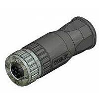 CONEC 43-00130 - M12 Liitin 8nap Naaras / Suora / Kaapeli IP67 - Musta