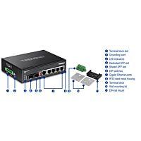 TRENDNET TI-G80 - 6-port hardened Industrial Gigabit Switch (5 Gigabit / 1 shared SFP / 1 dedicated SFP)